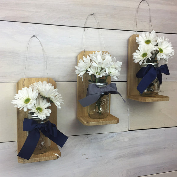 Mason Jar Wall Vase - Set of 3