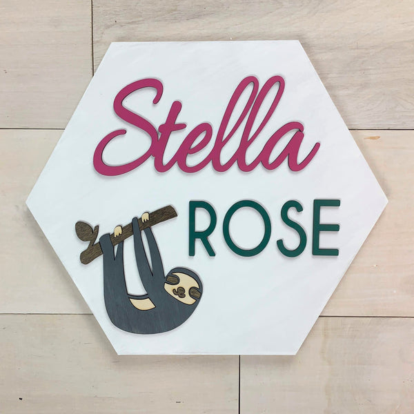 Sloth Personalized Name Sign