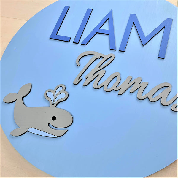 Whale Personalized Nursery Sign