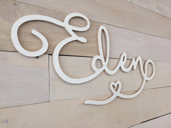 "Script Wood Name - Extra Large up to 48"" wide"