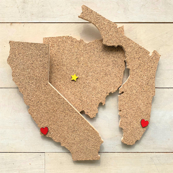 State Shaped Corkboards