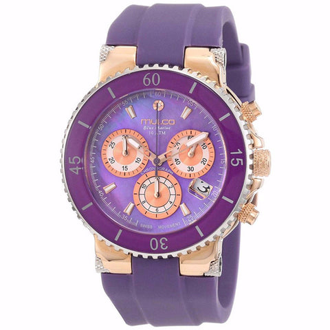 MULCO Blue Marine Purple Mother of Pearl Dial Silicone Ladies Watch MW3-70604-055