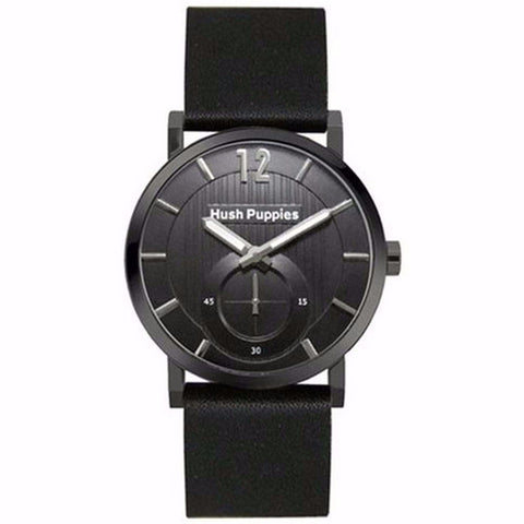 HUSH PUPPIES MEN'S BLACK DIAL AND BLACK GENUINE LEAHER WATCH HP.3628M.2502