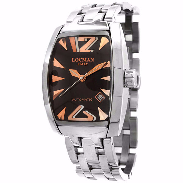 Locman Mens Stainless Steel Black Dial Automatic Watch