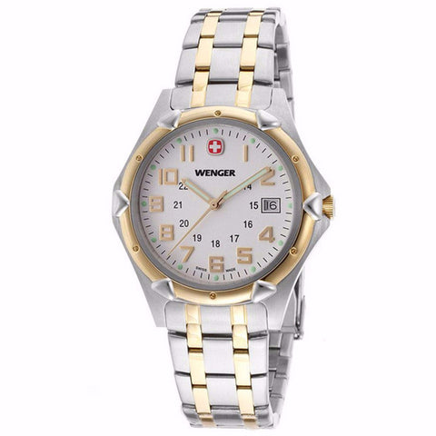 WENGER WHITE DIAL DATE SAPPHIRE CRYSTAL TWO-TONE MEN'S WATCH 73117