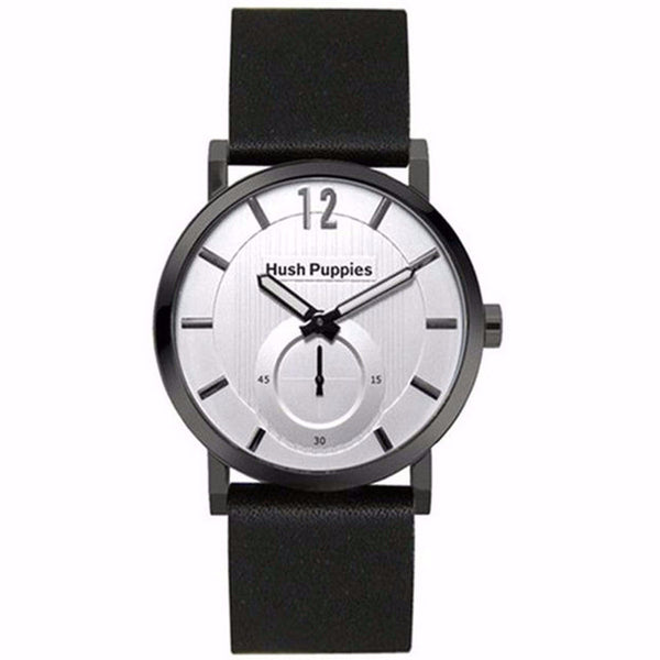 HUSH PUPPIES SILVER DIAL BLACK GENUIN LEATHER MEN'S WATCH HP.3628M.2522