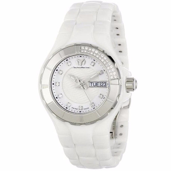 TECHNOMARINE CRUISE WOMANS CERAMIC WHITE DIAMOND DIAL WATCH 110023C
