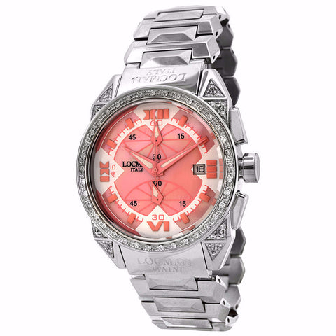 Locman Cavallo Pazzo Diamond Pink Mother of Pearl Dial Watch