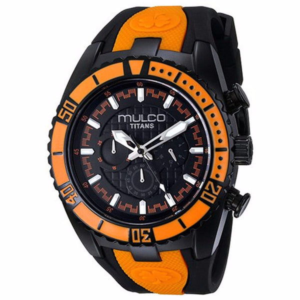 MULCO MEN'S TITAN WAVE BLACK DIAL ORANGE BESEL WATCH MW5-1836-615