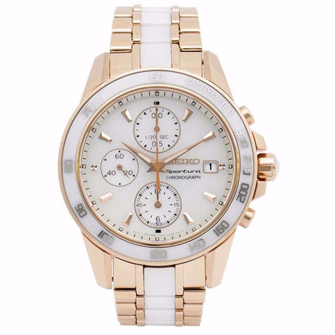 SEIKO SNDW98P1 Sportura Chronograph Rose gold-tone stainless steel with Ceramic center links Women's Watch
