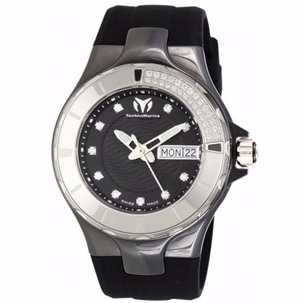 TECHNOMARINE CRUISE BLACK DIAL DIAMOND BEZEL BLACK SILICONE WOMANS WATCH 110027