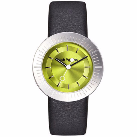 HUSH PUPPIES WOMEN'S GREEN DIAL BLACK LEATHER STRAP WATCH HP.3612L.2511