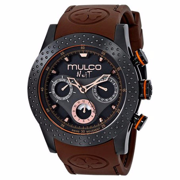 MULCO Nuit Mia Multi-Function Black Dial Brown Silicone band Unisex Watch MW5-1962-035