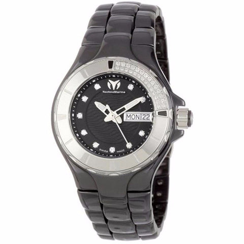 TECHNOMARINE BLACK DIAL DIAMOND BEZEL BLACK CERAMIC LADIES WATCH 110027C