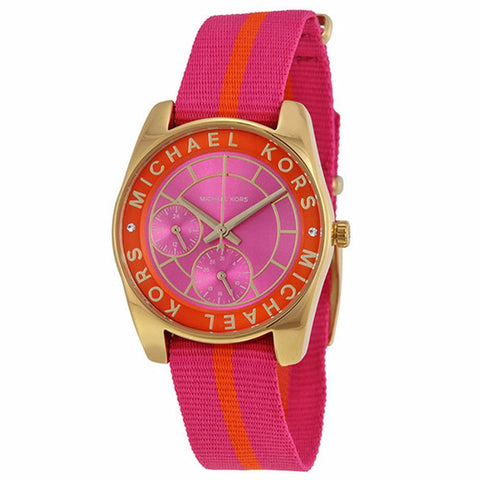 MICHAEL KORS RYLAND WOMEN'S PINK DIAL NYLON STRAP WATCH MK2401