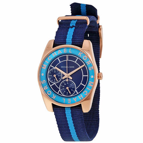 MICHAEL KORS RYLAND BLUE DIAL NYLON STRAP WOMEN'S WATCH MK2402