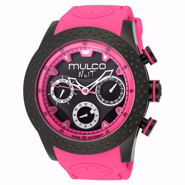 MULCO Nuit Mia Multi-Function Black Dial Pink Silicone Band Womans Watch MW5-1962-058