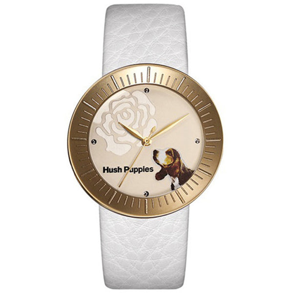 HUSH PUPPIES WHITE LEATHER BAND GOLD TONE STAILESS STEEL CASE WOMEN'S WATCH HP.3630L.2501