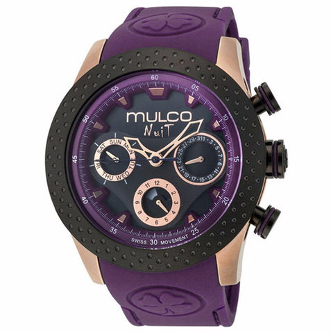 MULCO Nuit Mia Multi-Function Black Dial Purple Silicone band Womans Watch MW5-1962-087