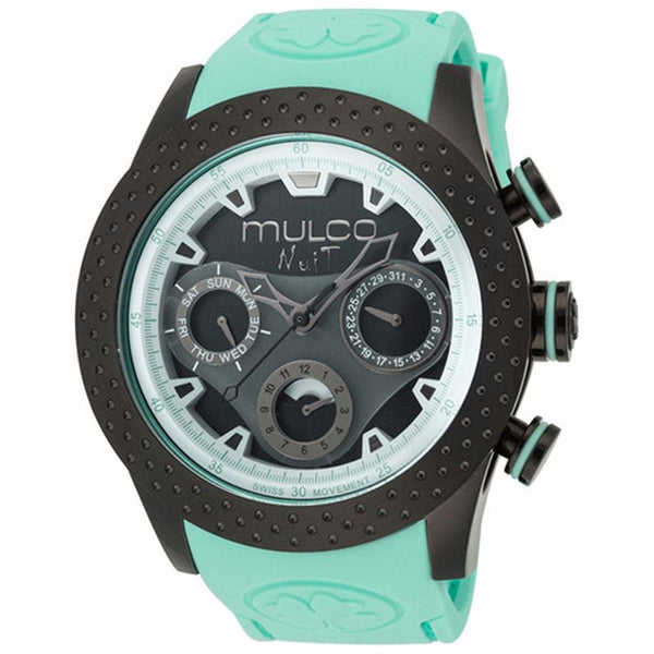 MULCO Nuit Mia Multi-Function Black Dial Light Green Silicone Band Unisex Watch MW5-1962-443