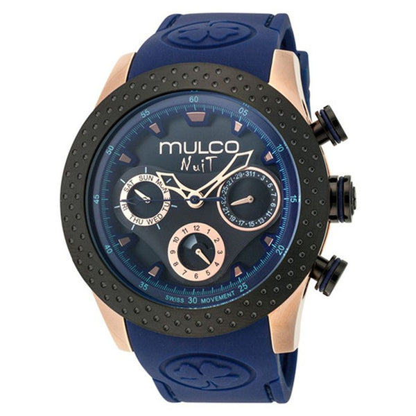 MULCO NUIT MIA MULTI FUNCTION BLACK DIAL BLUE SILICONE LADIES WATCH MW5-1962-445