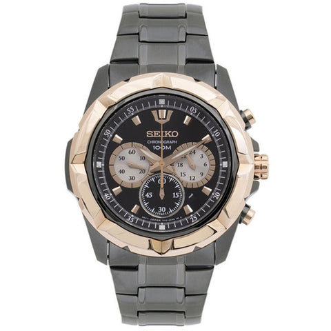 SEIKO Chronograph Grey Dial Grey Ion-plated Men's Watch