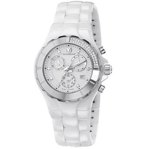 TECHNOMARINE CRUISE CRONOGRAPH WHITE DIAMOND DIAL WHITE CERAMIC WATCH 110031C