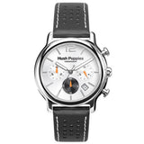 HUSH PUPPIES MEN'S SILVER DIAL BLACK GENUINE LEATHER BAND CHRONOGRAPH WATCH HU-6044M.2522 - BrandNamesWatch.com