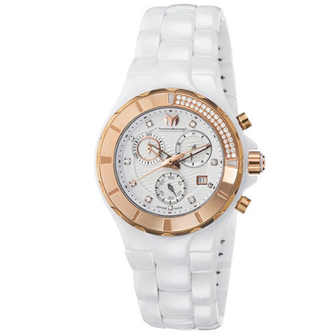 TECHNOMARINE CRUISE CHRONOGRAPH WHITE DIAL DIAMOND WHITE CERAMIC LADIES WATCH 110033C