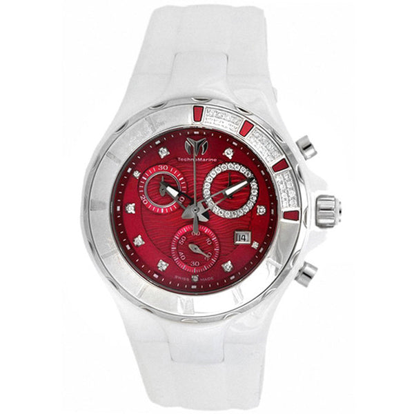 TECHNOMARINE CRUISE CHRONOGRAPH RED DIAL WHITE CERAMIC LADIES SPORT WATCH 110078