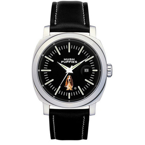 HUSH PUPPIES MEN'S BLACK LEATHER STRAP WATCH HP.3465M.2502