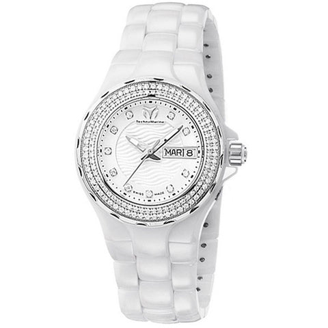 TECHNOMARINE CRUISE WHITE DIAL DIAMOND BEZEL WHITE CERAMIC LADIES WATCH 111053