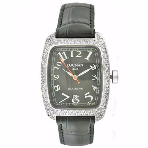 Locman Diamond Tonneau Mother of Pearl Dial Black Leather Strap Ladies Watch