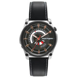 HUSH PUPPIES MEN'S BLACK DIAL GENUINE BLACK LEATHER STRAP WATCH HP.7056.2502 - BrandNamesWatch.com