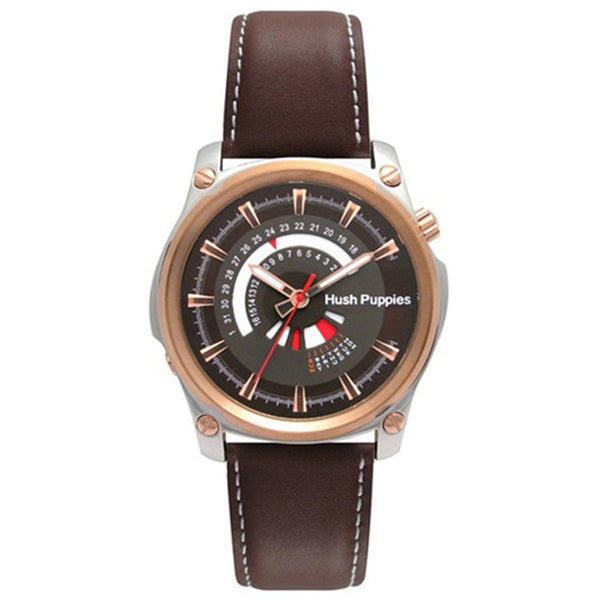 HUSH PUPPIES MEN'S GENUINE BROWN LEATHER STRAP WATCH HP.7056M.2517