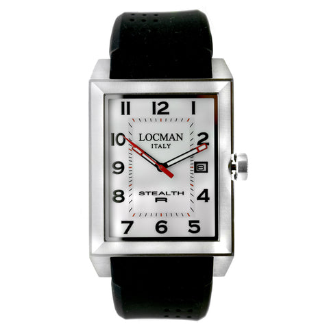 Locman Stealth R White Dial Black Rubber Men's Watch