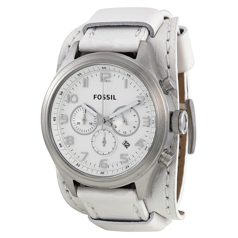 Fossil BQ1035 Asher White Chronograph Dial White Leather Men's Watch