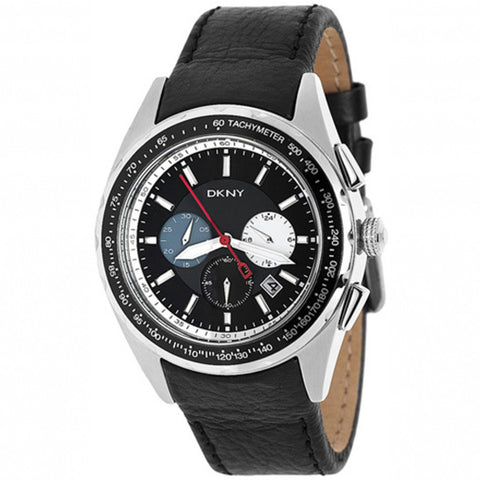 Chronograph Black Dial Black Leather Men's Watch NY1488