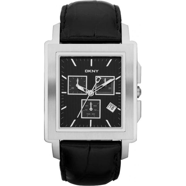 DKNY Men's Chronograph Black Leather Strap Watch Ny1500