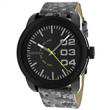 Diesel Double Down Black Dial Grey Camouflage Leather Mens Watch DZ1664 - BrandNamesWatch.com