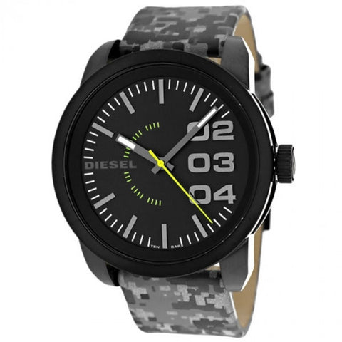 Diesel Double Down Black Dial Grey Camouflage Leather Mens Watch DZ1664L
