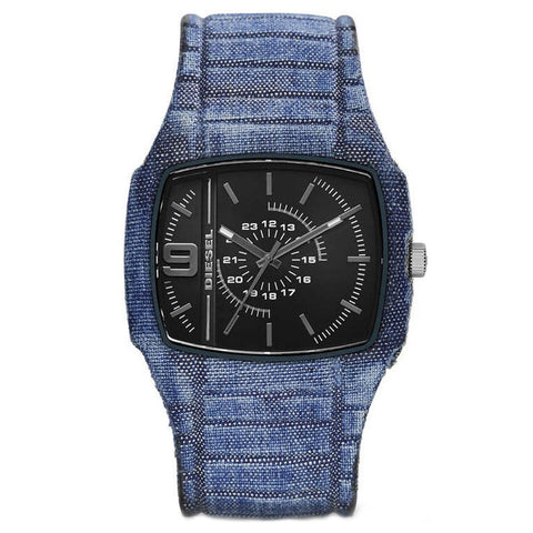 Diesel Mens Trojan Blue Denim Strap Watch DZ1669