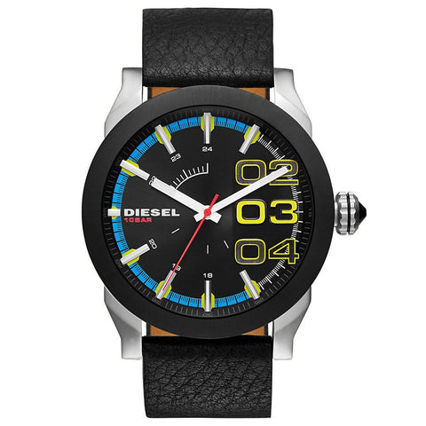 DIESEL Double Down Black Dial Leather Men's Watch DZ-DZ1677