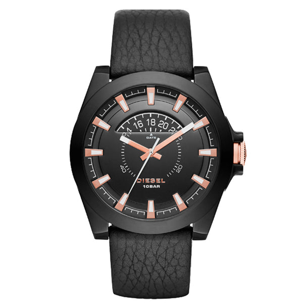 Diesel Men's Black Genuine Leather, Dial & Ion Plated Ss Watch DZ1732