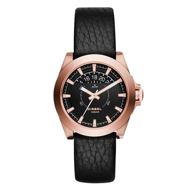 Diesel Arges Mini Three Hand Black Leather Rose Gold Stainless Steel Mens Watch dz1733