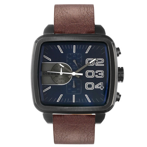 Diesel Double Down Square Navy Dial Brown leather strap mens watch DZ4302