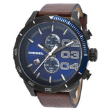 DIESEL Double Down Blue Dial Brown Leather Men's Quartz Watch DZ4312 - BrandNamesWatch.com