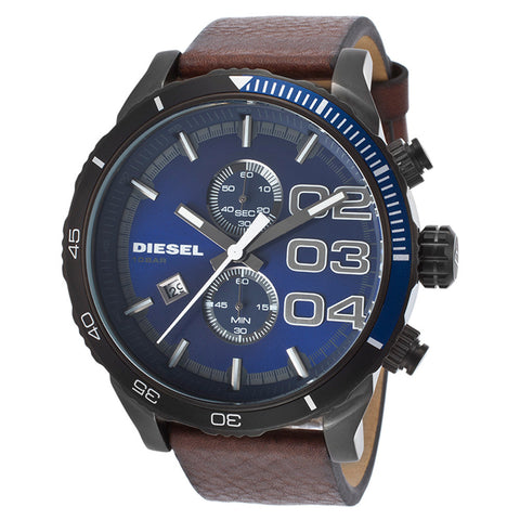 Diesel Double Down Blue Dial Brown Leather Mens Quartz Watch DZ-DZ4312