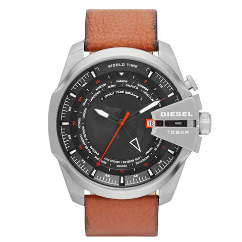 DIESEL Mega Chief World Time Black Dial Brown Leather Men's Watch DZ4321