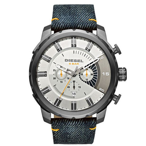 DIESEL Stronghold Silver Dial Blue Denim Men's Watch DZ4345